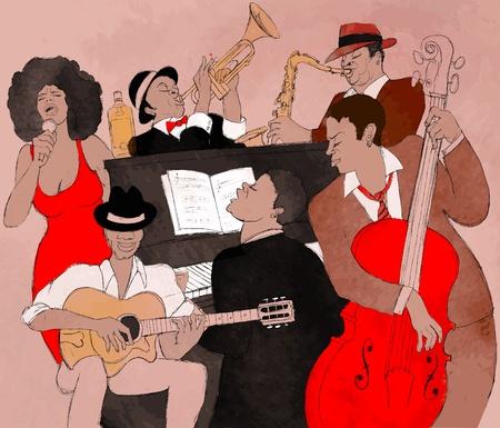 tenore: illustrazione di una band Jazz
