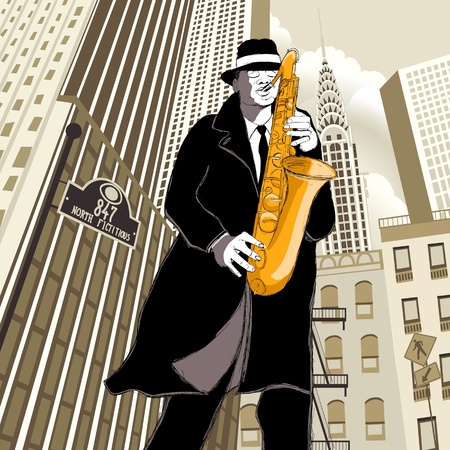 saxophonist: illustration of saxophone player in a street  Illustration