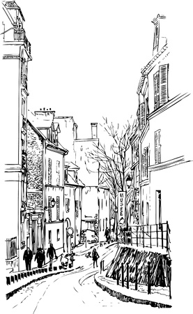 illustration of a view of Montmartre in Paris under snow Vector