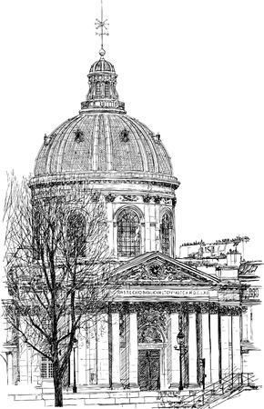 od: illustration od a drawing representing the Mazarine library in Paris