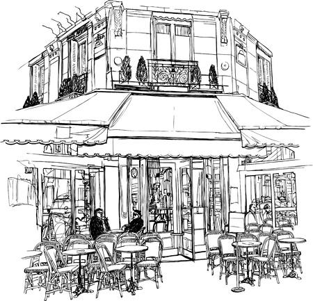 古いカフェでパリのイラスト