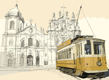 porto: illustration of a typical tramway in front of the church Carmo in Porto - Portugal