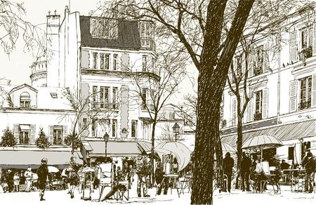 montmartre: illustration of a view of Montmartre in Paris under snow Illustration