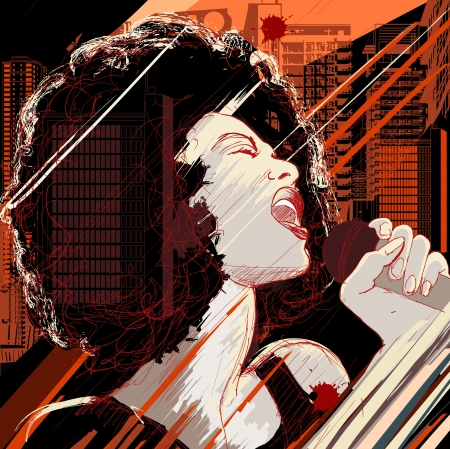 illustration of an afro american jazz singer on grunge background