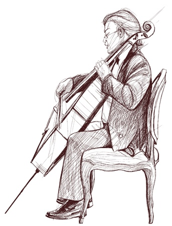 cellist: Vector illustration on an hand drawing representing a violoncellist