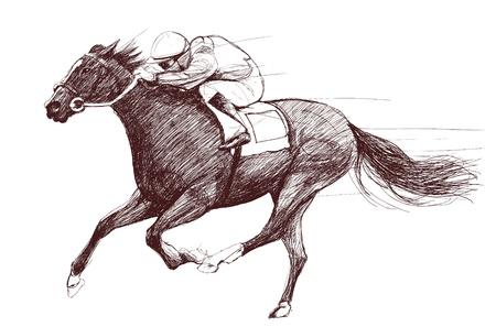 ippica: Illustrazione vettoriale di una cavallo di corsa e fantino