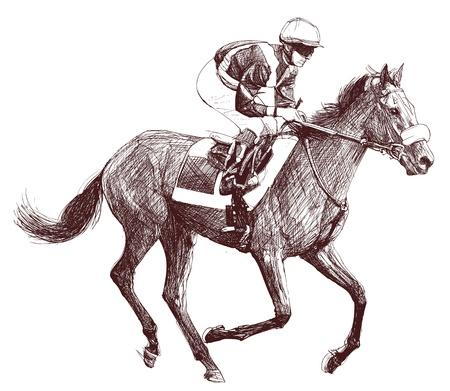 Ilustración vectorial de un caballo de carreras y jockey