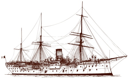 mast: Vector illustration of an old battle ship