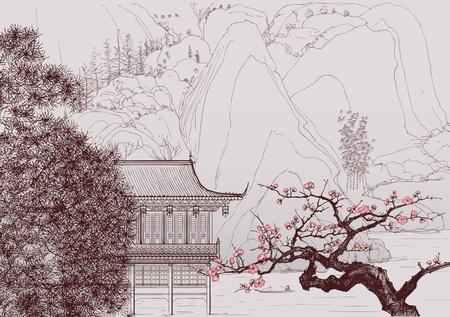 arbol cerezo: Ilustraci�n vectorial de un paisaje chino en el estilo de la pintura China antigua