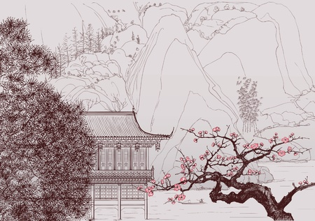 cherry blossoms: Vector illustration of a Chinese landscape in the style of old chinese painting