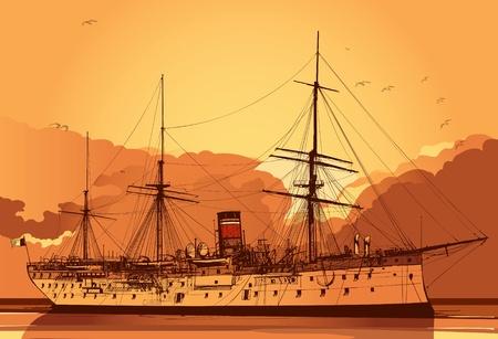 Vector illustration of an old battle ship