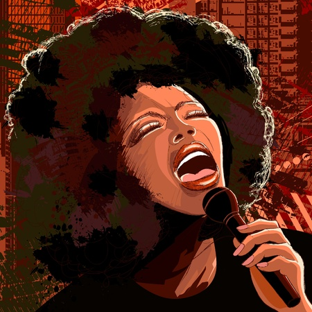 jazz: Vector illustration of an afro american jazz singer on grunge background