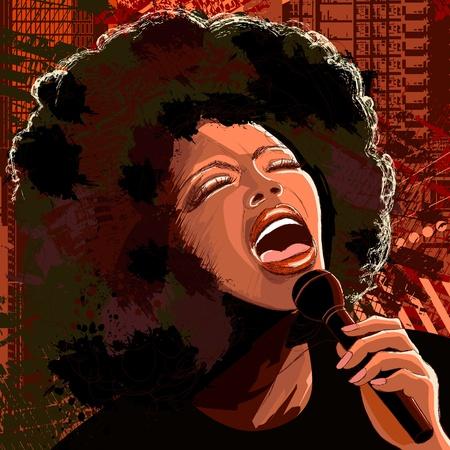 Vectorillustratie van een afro Amerikaanse jazz-zangeres op grunge achtergrond
