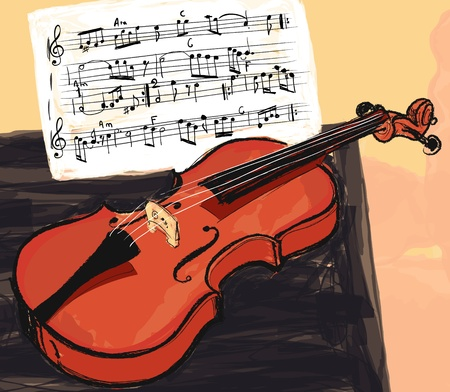 violins: Vector illustration of a violin in watercolor style