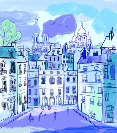 naive: vector illustration of Paris in watercolor style Illustration