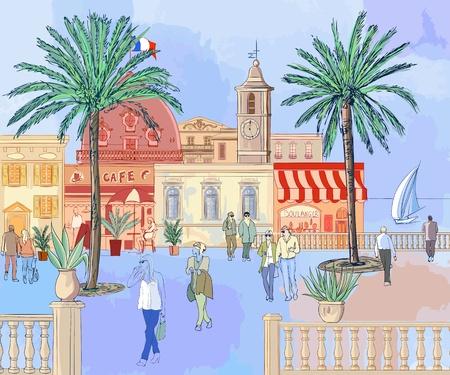 ilustración vectorial de una imaginaria ciudad francesa en la riviera francesa Ilustración de vector