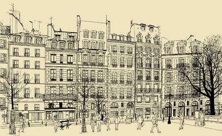 cite: France - Paris - Place Dauphine vector illustration