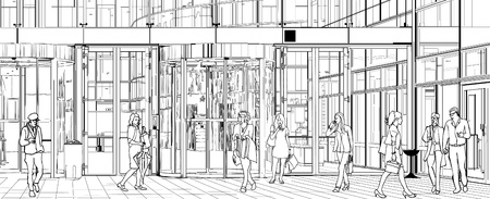 architectural drawing: Vector illustration of people near an office building