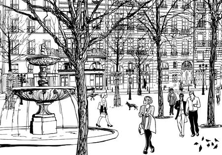 cite: Vector illustration of an imaginary square in Paris Illustration