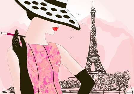 fashion bags: vector illustration of a fashion woman in Paris