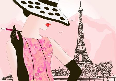 autumn fashion: vector illustration of a fashion woman in Paris