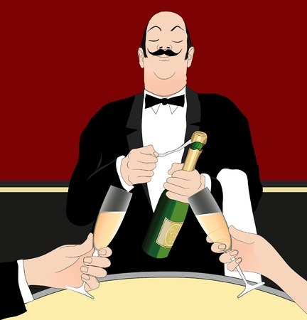 manservant: Vector illustration of a waiter serving champagne Illustration