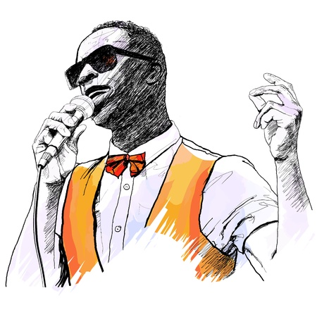 entertainer: Vector illustration of an afro american jazz singer  Illustration