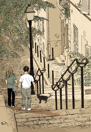 フランス パリ - モンマルトルのロマンチックな散歩