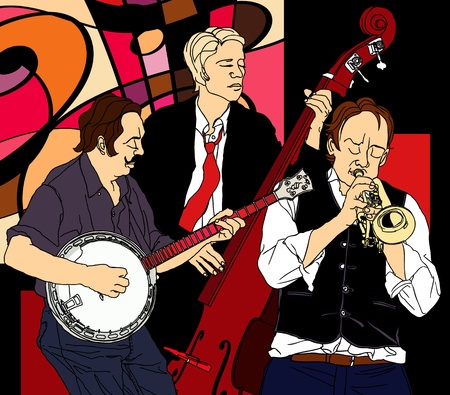 brass band: Vector illustration of a jazz band Illustration