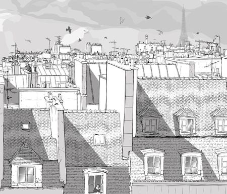 paris skyline: Vector illustration of a view on Paris roofs with Eiffel Tower