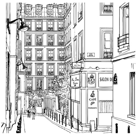 europe cities: Vector illustration of a street near Montmartre in Paris
