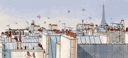 panoramic sky: Vector illustration of a view on Paris roofs with Eiffel Tower