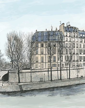 seine: Vector illustration of Ile Saint Louis in Paris Illustration