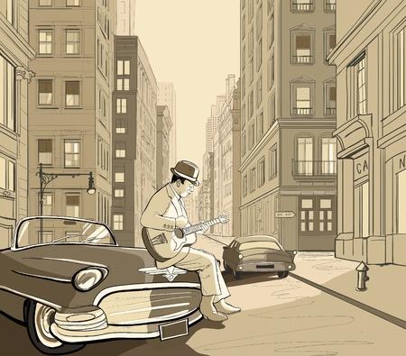 new york street: Illustration du guitariste dans une rue de New york