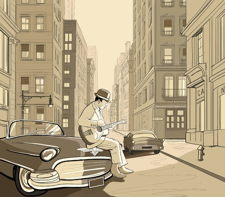 guitarists: illustration of a guitarist in an old street of New york Illustration