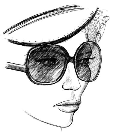 sketch: illustratie van een creatieve vrouw met mooie hoed