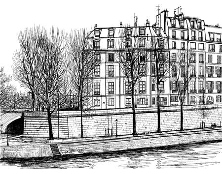 seine: Vector illustratie van Île Saint-Louis in Parijs Stock Illustratie