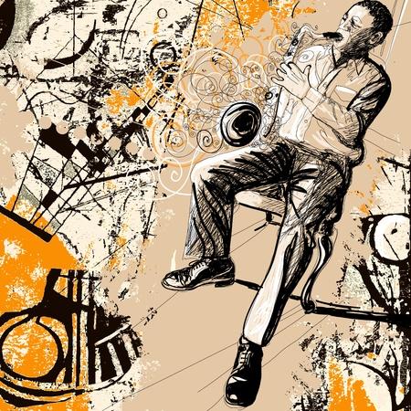 soprano saxophone: Ilustraci�n vectorial de un saxofonista sobre un fondo grunge Vectores