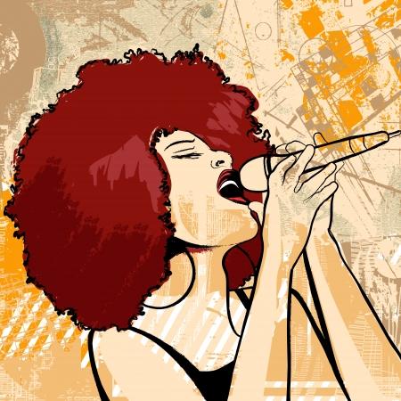 Ilustración vectorial de una cantante de jazz estadounidense afro sobre fondo grunge
