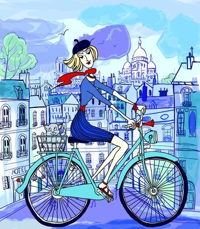 vector illustratie van een jonge vrouw op een fiets in Parijs