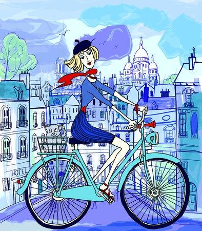 naive: vector illustration of a young woman on a bicycle in Paris