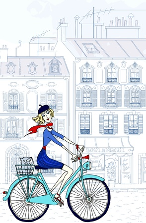 paris illustration: illustration of a woman riding a bicycle in Paris