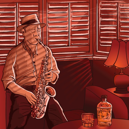saxophonist: Vector illustration of a saxophonist playing in a house with shutters