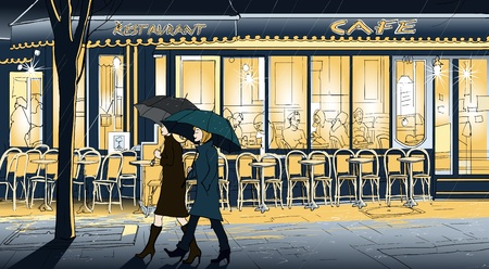 night table: Vector illustration of two women strolling in the rain in a street of Paris