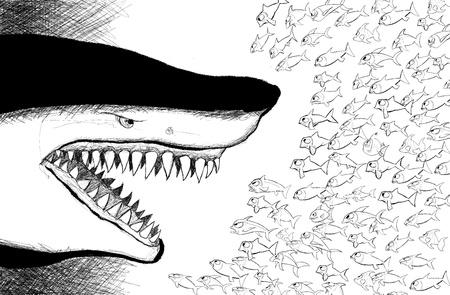 resist: vector illustration of an aggressive shark facing  small fishes Illustration