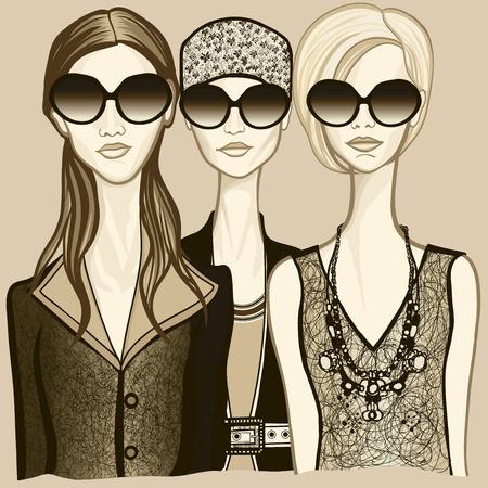 bocetos de personas: Ilustraci�n vectorial de tres mujeres con gafas de sol