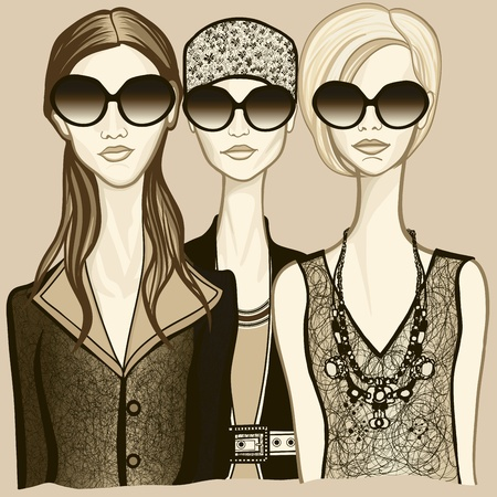 fashion sketch: Vector illustration of three women with sunglasses Illustration