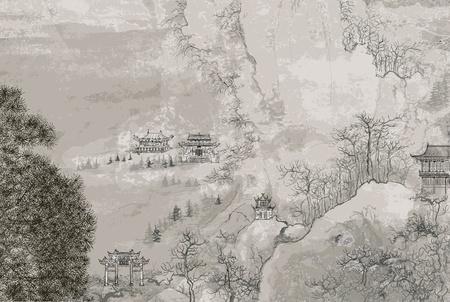 Illustrazione vettoriale di un paesaggio cinese, nello stile della vecchia pittura cinese