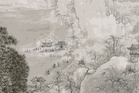 landscape painting: Vector illustration of a Chinese landscape in the style of old chinese painting