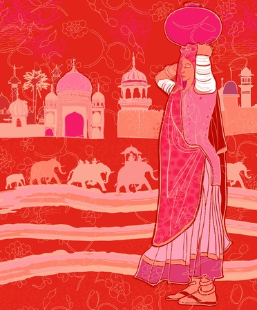 tusk: Vector illustration of Indian decor with a woman and elephants